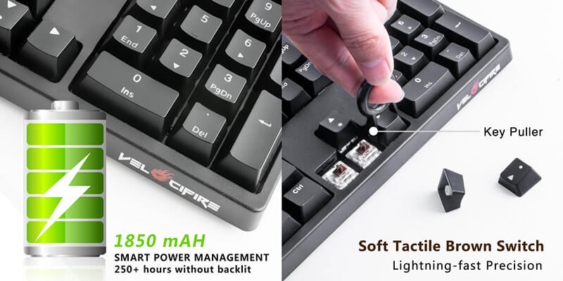 velocifire vm02ws wireless mechanical keyboard new arrival make typing better velocifire. Black Bedroom Furniture Sets. Home Design Ideas